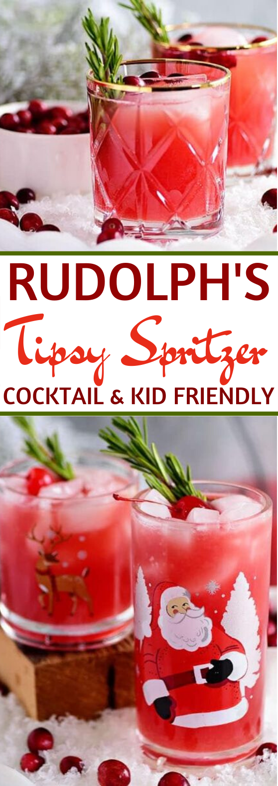 Rudolph's Tipsy Spritzer #drinks #cocktails #christmas #kidfriendly #punch