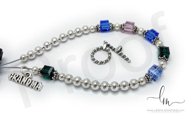 Grandma Birthstone Charm Bracelet