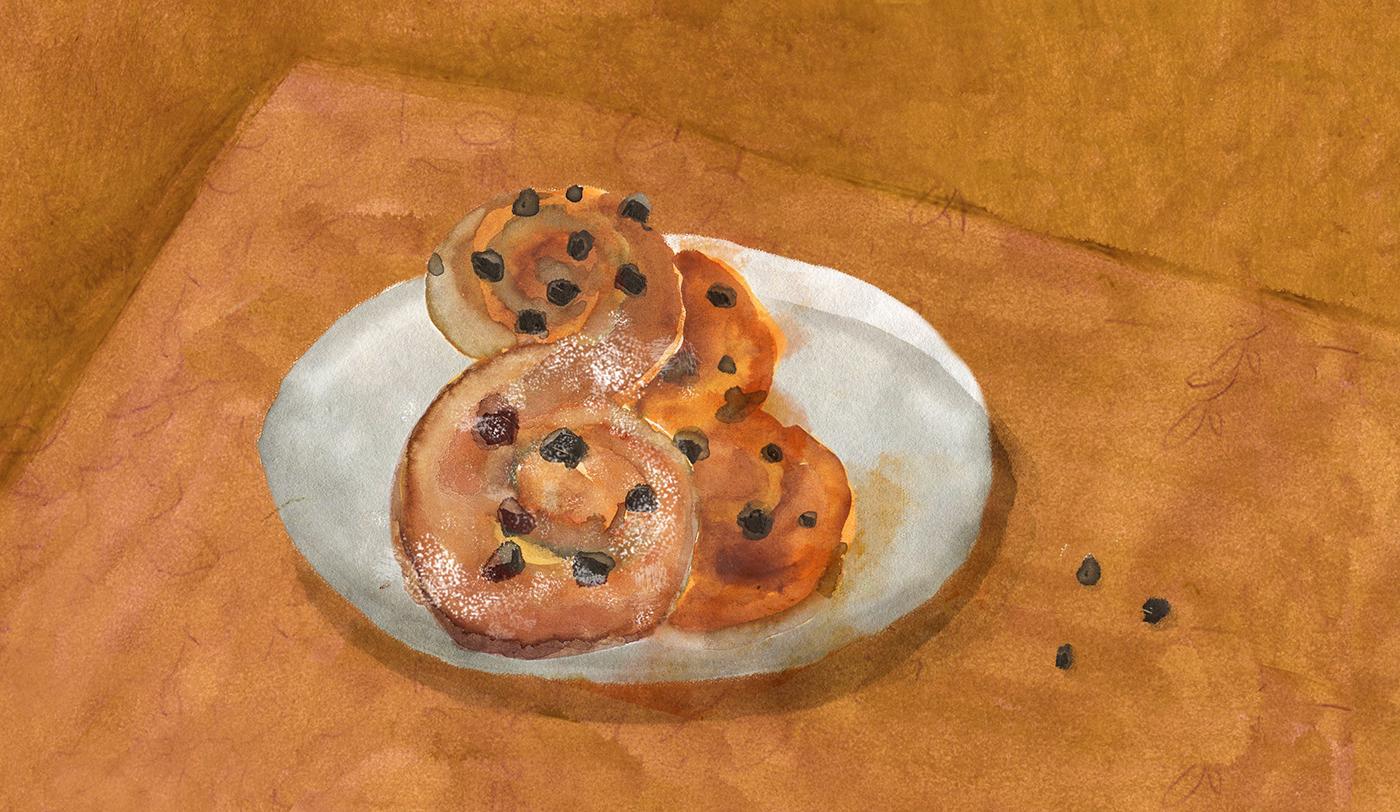 Swedish cinnamon rolls, raisins, breakfast, Minty's Table, Christmas, Lauren Monaco Illustration