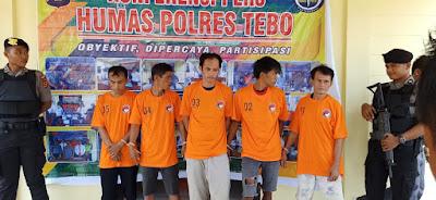 Polisi Amankan 5 Tersangka Bandar Sabu Asal Tebo dan Bungo