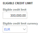 Eligible credit limit in Customer's currency
