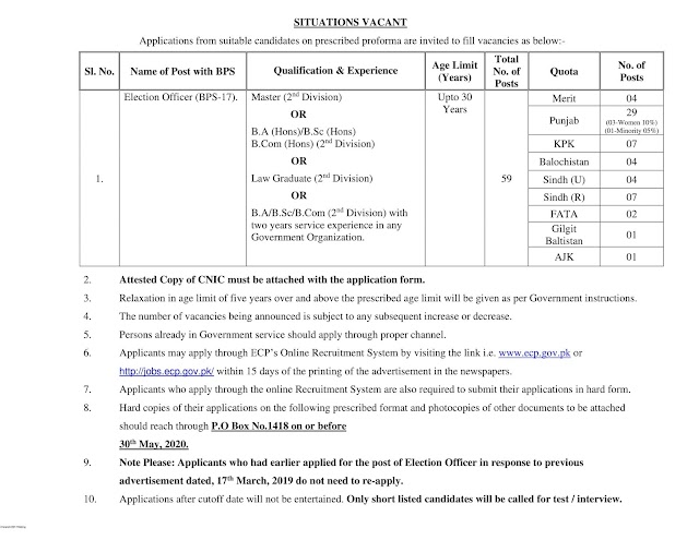 Govt Jobs Available in Pakistan Election Commission Jobs 2020 - Govt Jobs