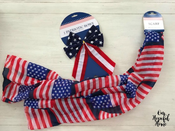 American flag scarf bow craft supplies