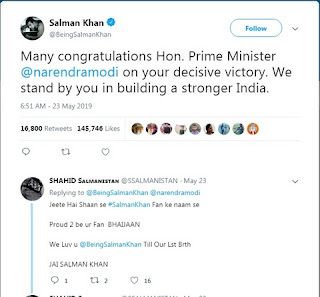 Salman Khan has congratulated PM Modi