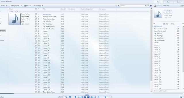 CD track list for Prima Latina