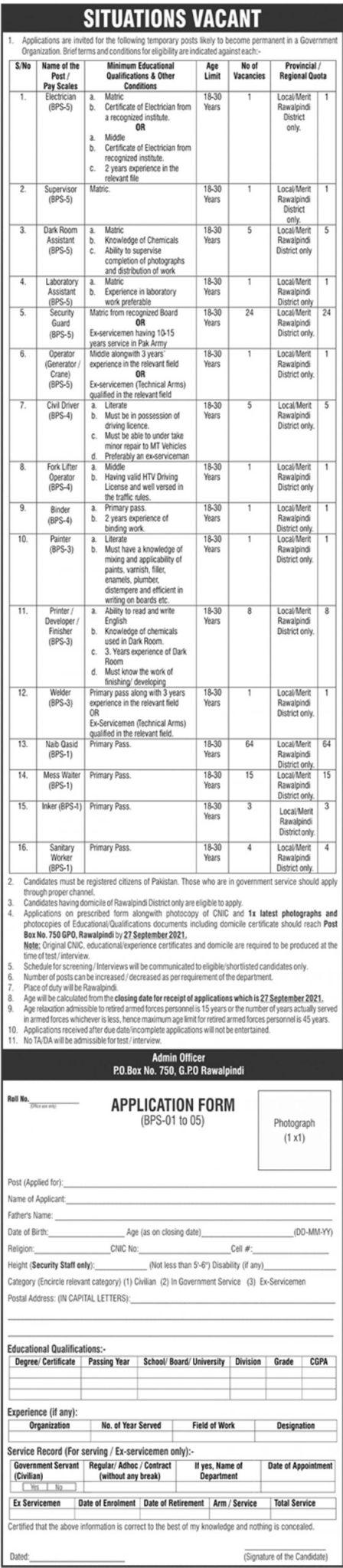 Government Organization Rawalpindi  Jobs 2021 in Pakistan