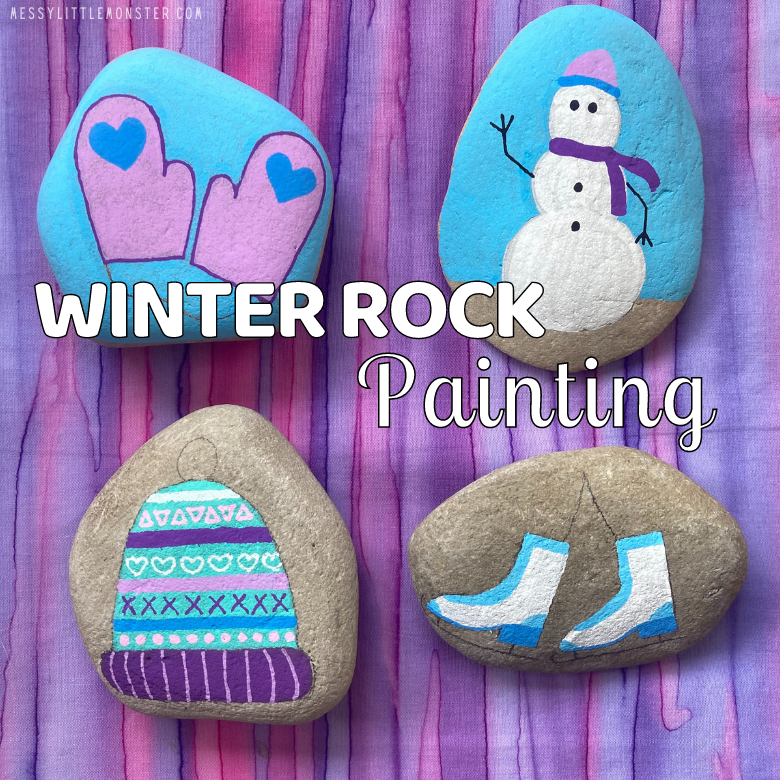 winter rock painting
