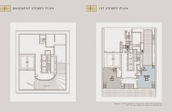 Crown @ Robinson Basement and 1st Storey Floor Plans