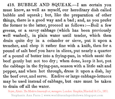 Civil War Recipes Bubble and Squeak 1860s