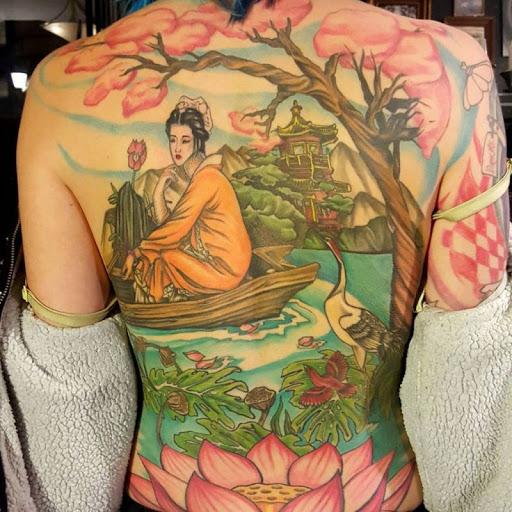Com Inspiração Asiática Arte De Volta Tatuagens