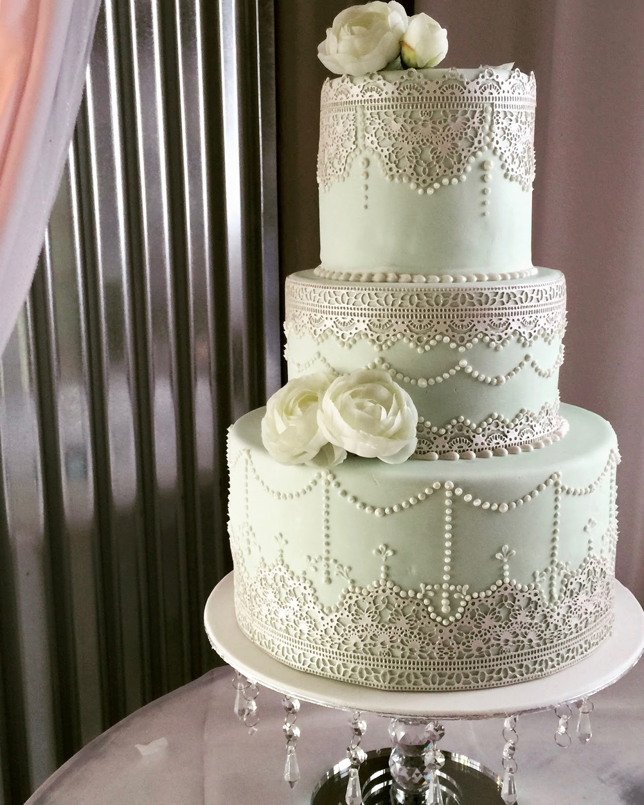 Mint Green Lace Wedding Cake