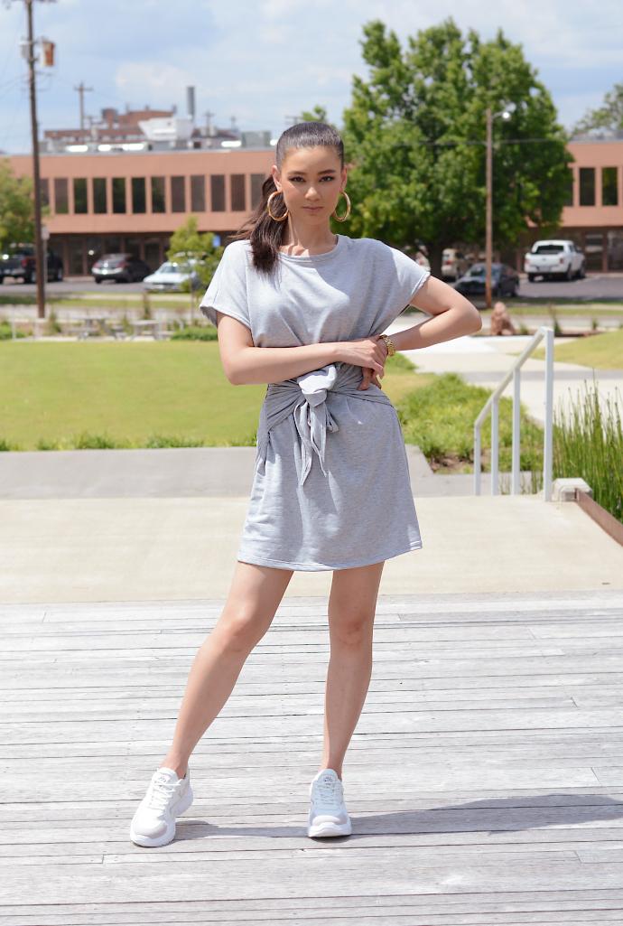 Grey Tie Waist Dress