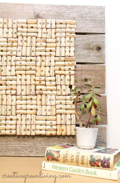 Save and use leftover wine corks to make a beautiful functional bulletin board