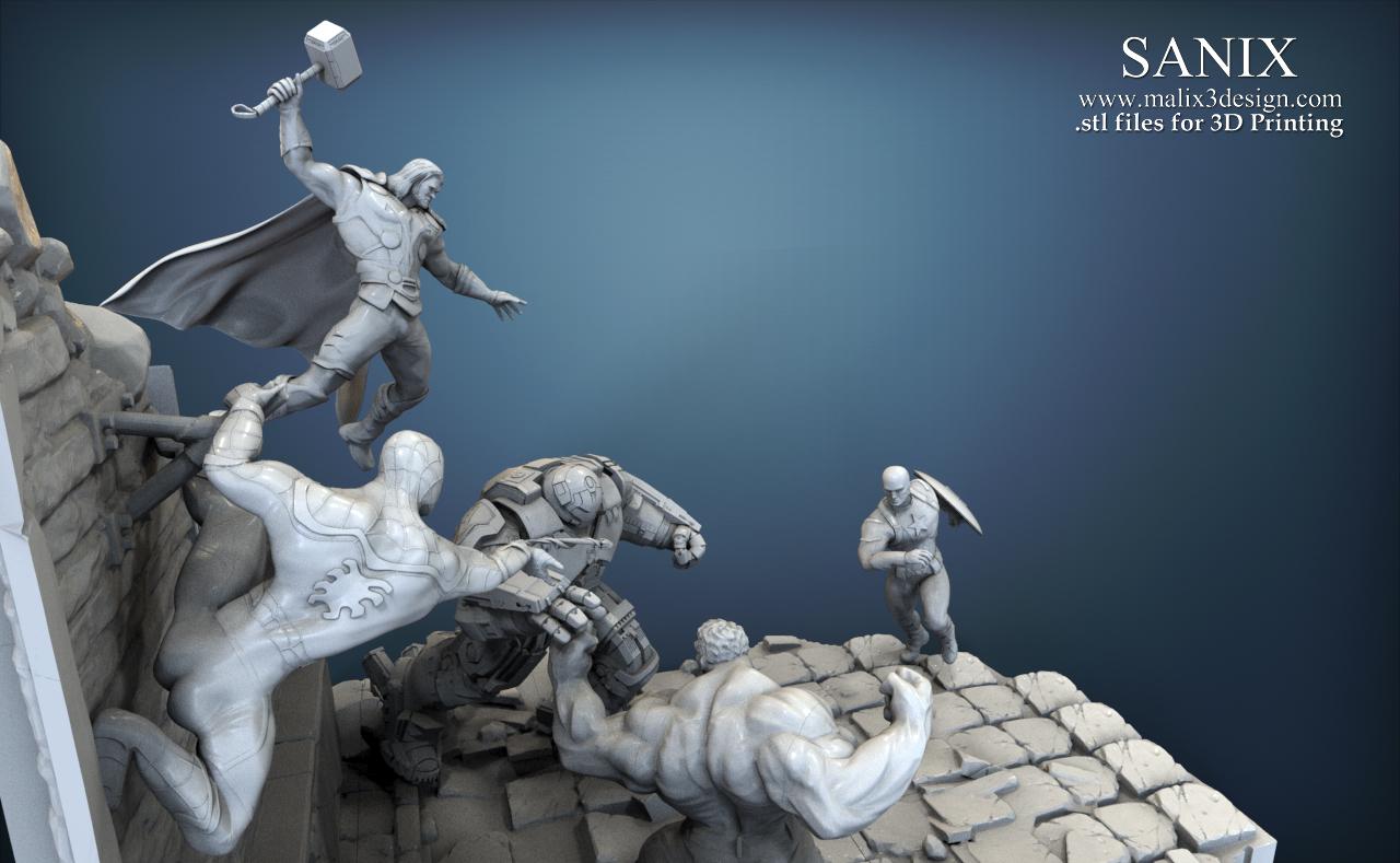 Full superheroes scene - Diorama for 3D printing. Five ...
