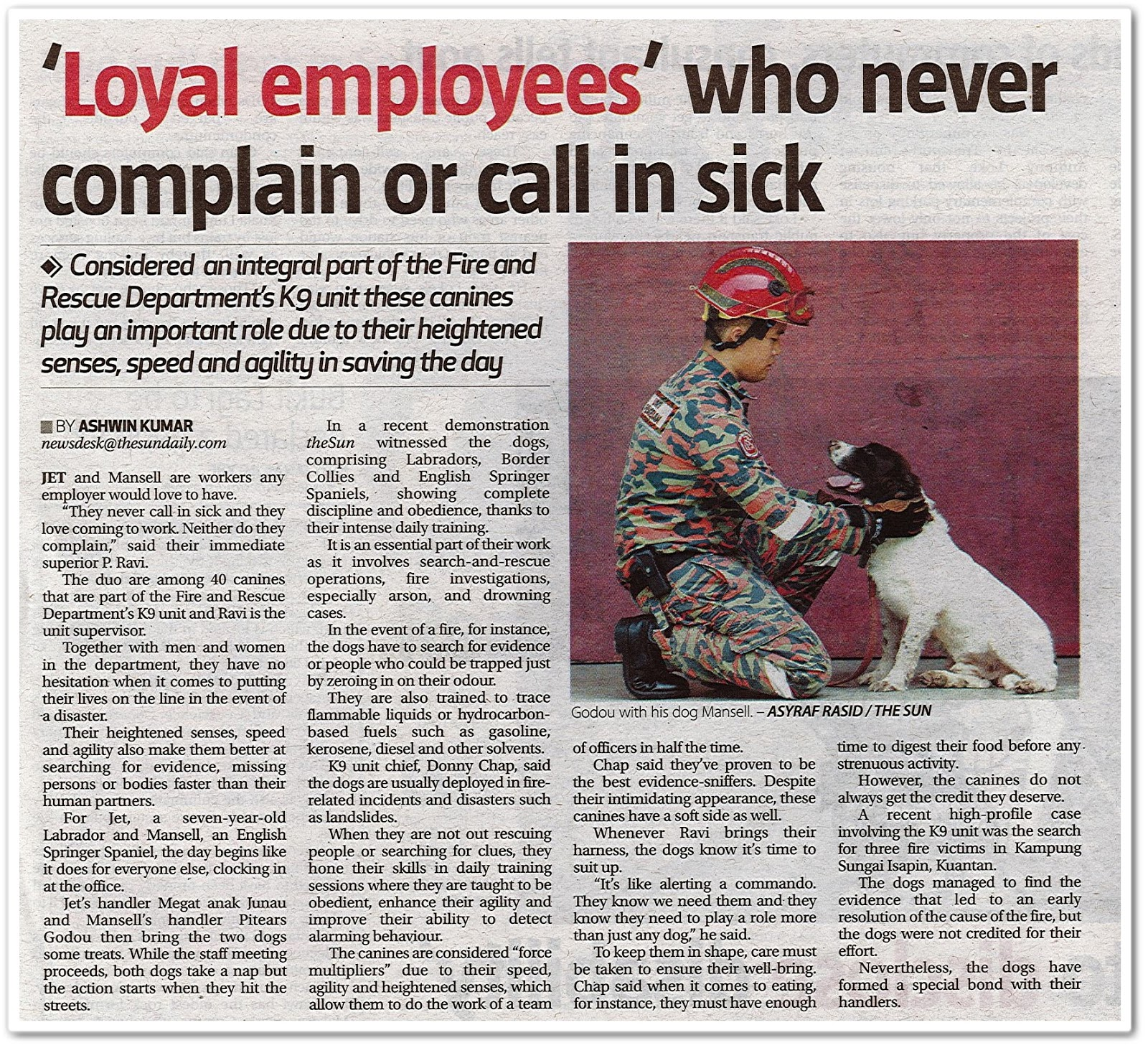 'Loyal employees' who never complain or call in sick - Keratan akhbar The Sun 21 Oktober 2019