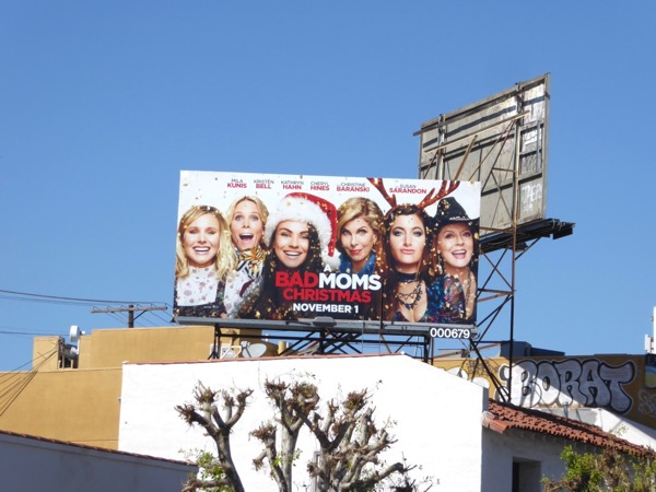 A Bad Moms Christmas movie billboard