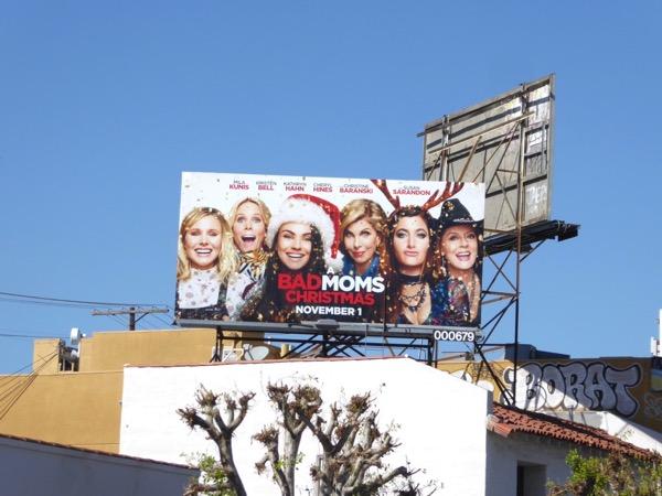 A Bad Moms Christmas movie billboard