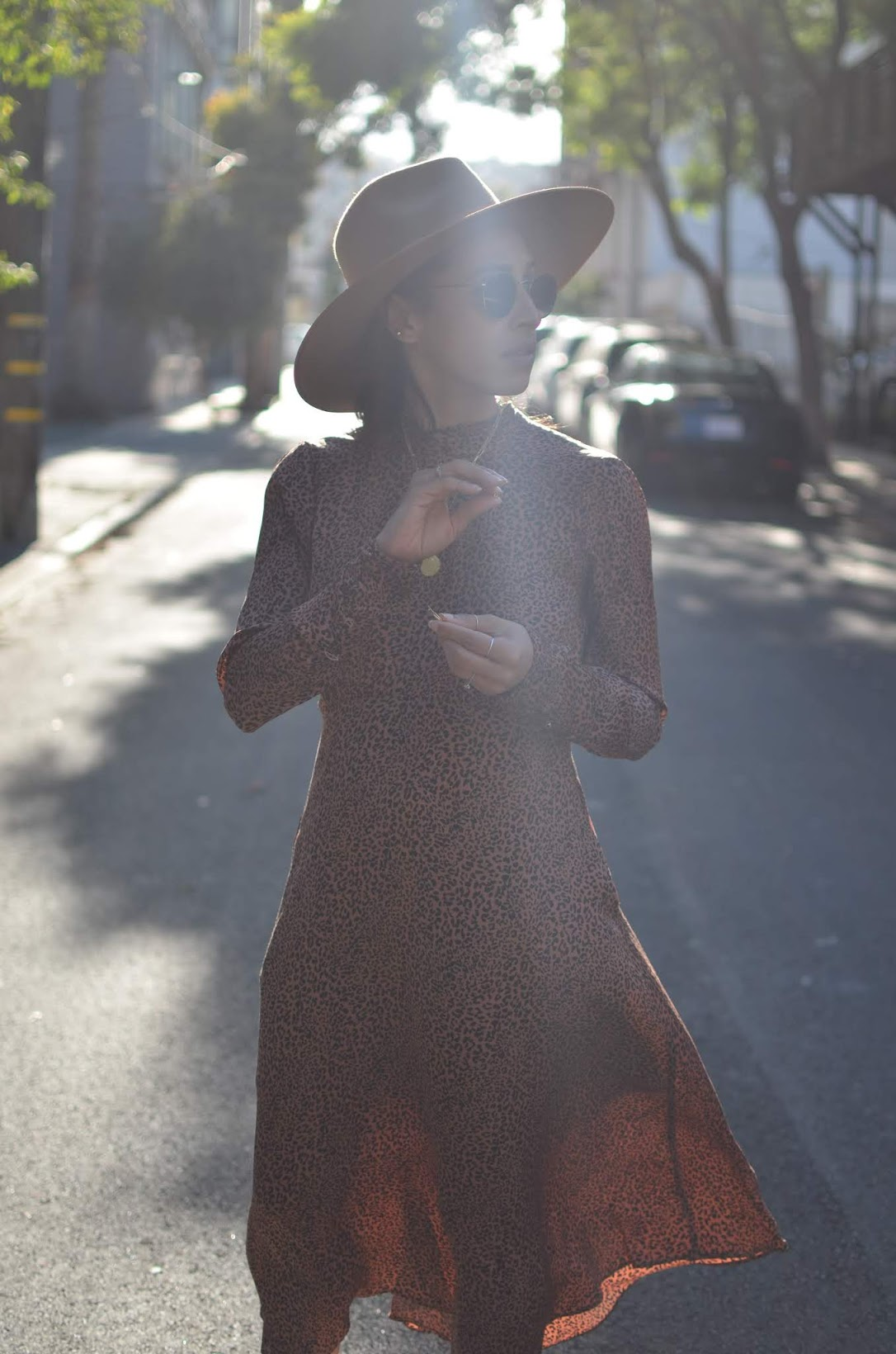Lack of Color, Lack of Color fedora, Lack of Color Teak Rancher, Free People leopard dress, California cool style, California boho chic, San Francisco fall style