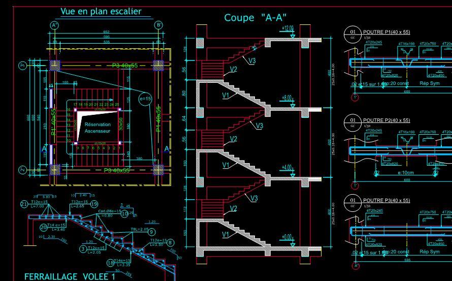 Bien-aimé Plan de coffrage ferraillage dwg Autocad bâtiment | Outils, livres  ZT52