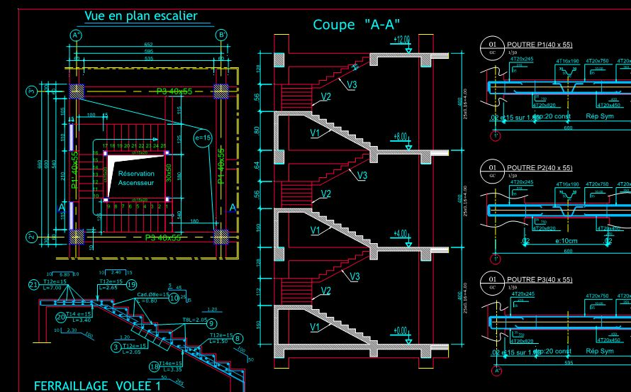 plan de coffrage ferraillage dwg autocad b timent cours g nie civil outils livres. Black Bedroom Furniture Sets. Home Design Ideas