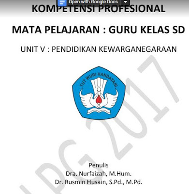Download Sumber Penunjang Belajar Materi Guru Kelas SD Unit V PKn Kompetensi Profesional, seo sunda