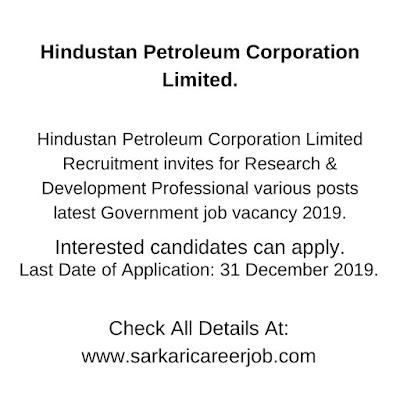 hpcl career various post government job vacancies 2019.