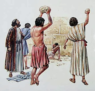 Illustration of the stoning of Stephen - Acts 7:58-60
