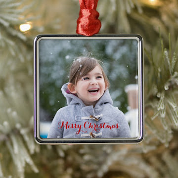 Create Your Own Square Silver Colored Metal Holiday Christmas Photo Ornament