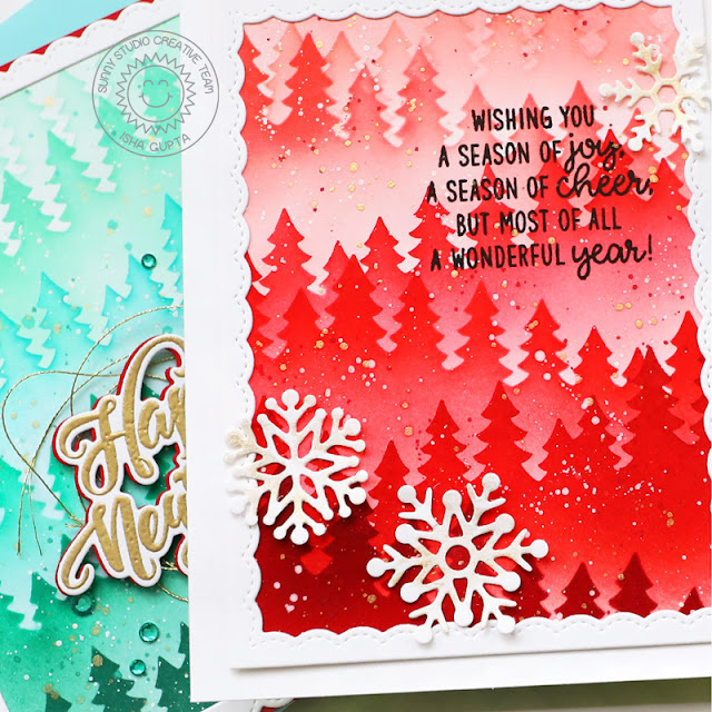Sunny Studio Stamps: Forest Tree Stencils Season's Greetings Lacy Snowflake Dies Winter Holiday Cards by Isha Cupta