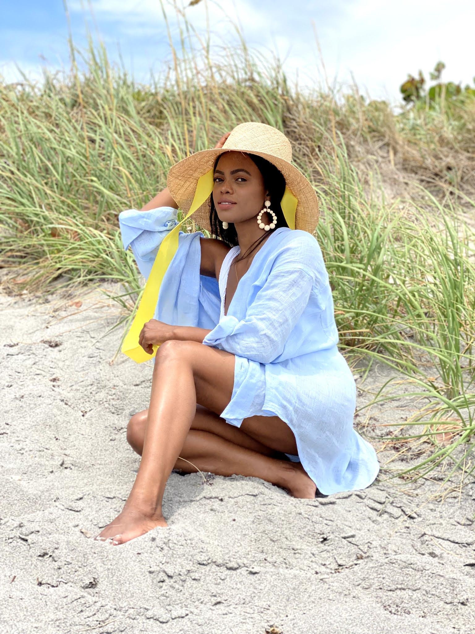 Linen shirt beach cover up
