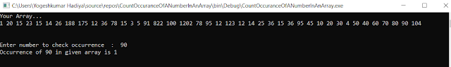 C# Program For Check Total Occurrence Of a Number In an Array - YogeshHadiya.in