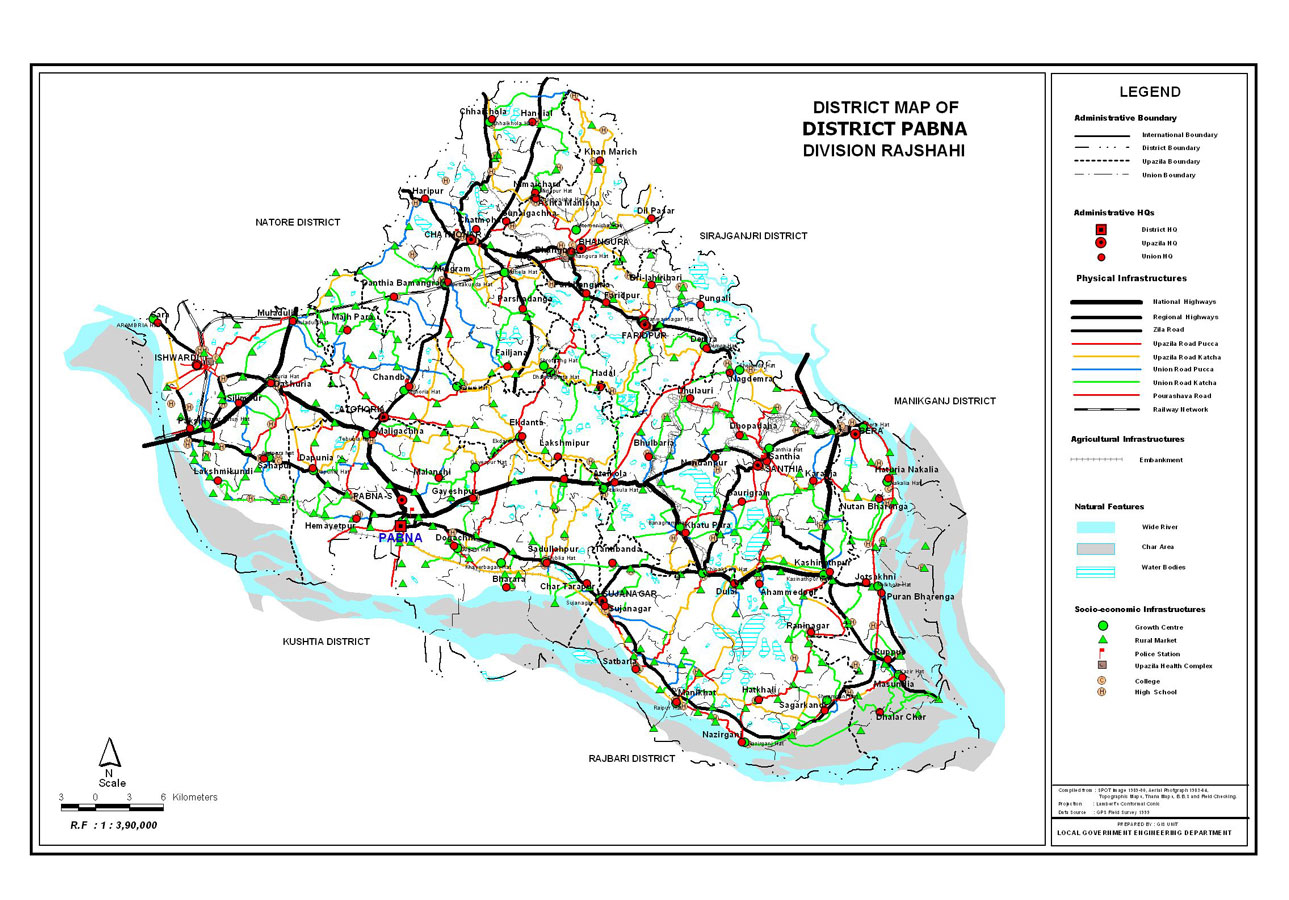 Pabna District Map Bangladesh