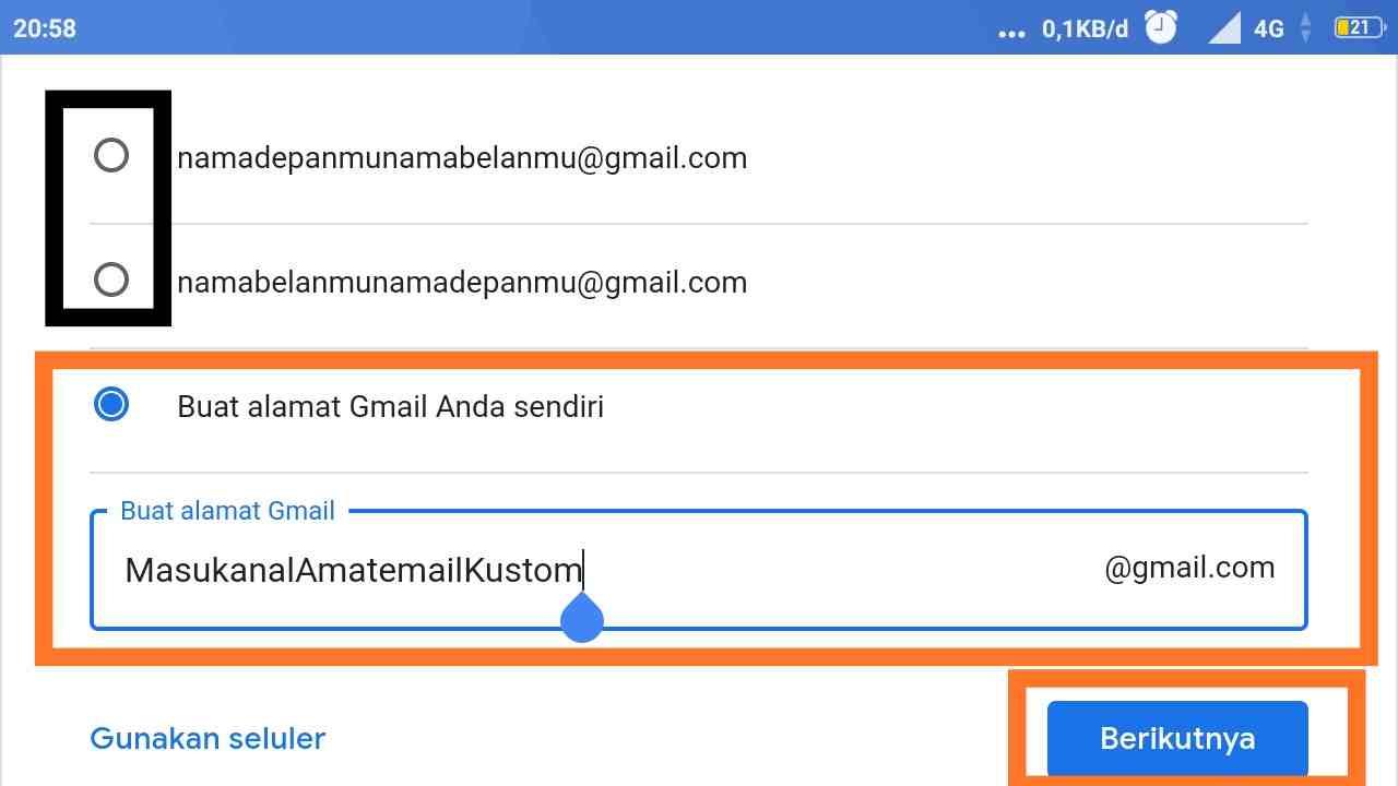 Cara membuat email dengan nomor HP