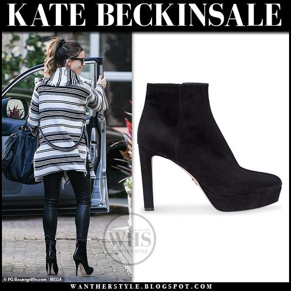 128e6df4dd Kate Beckinsale wears striped jacket, leather pants and black platform Prada  ankle boots. Hollywood