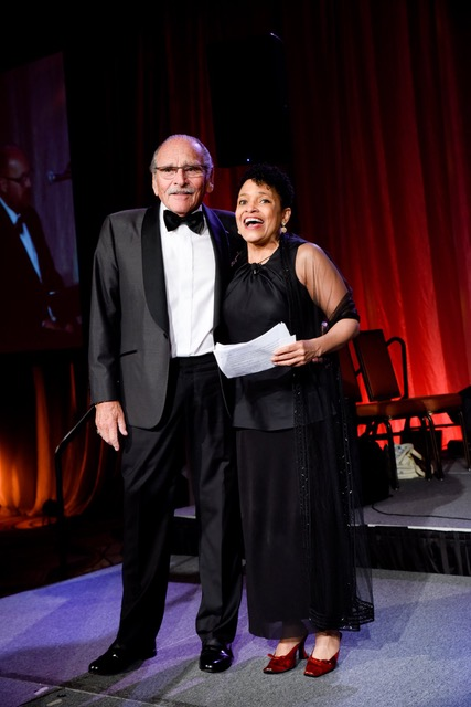Benefactor Sy Taxman and NBC 5's LeeAnn Trotter who emceed the 2019 ball. Image credit GIRF.