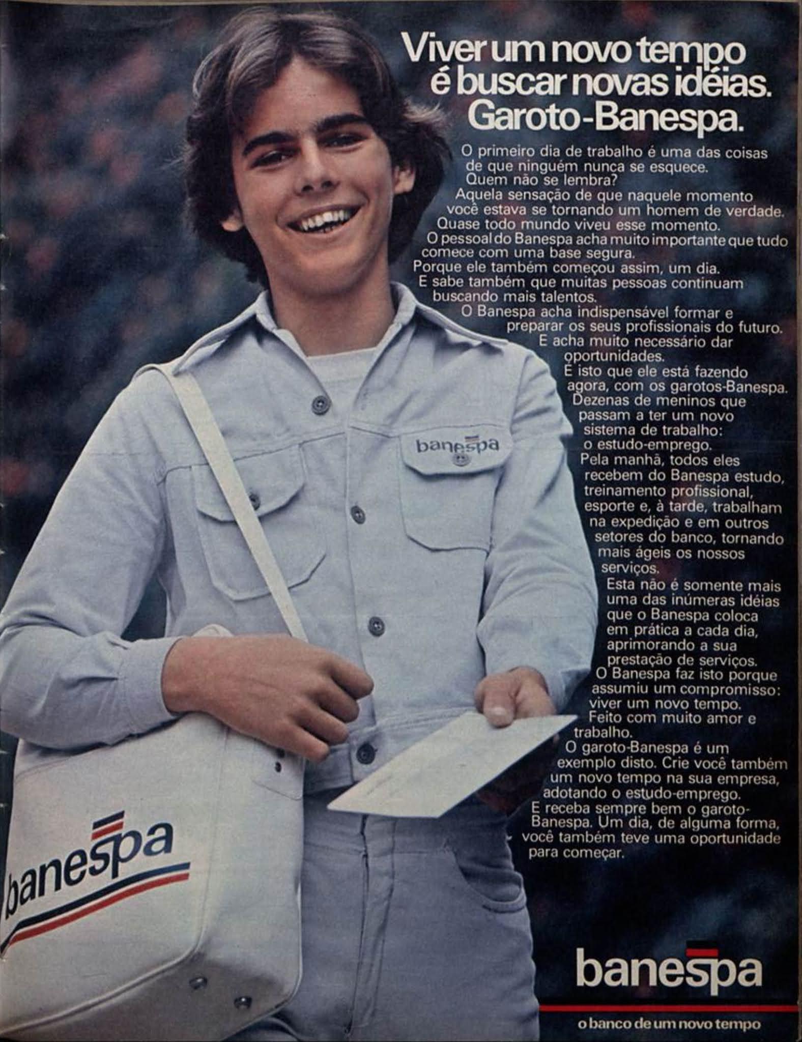 Anúncio antigo do Banespa promovendo programa de primeiro emprego para jovens em 1977
