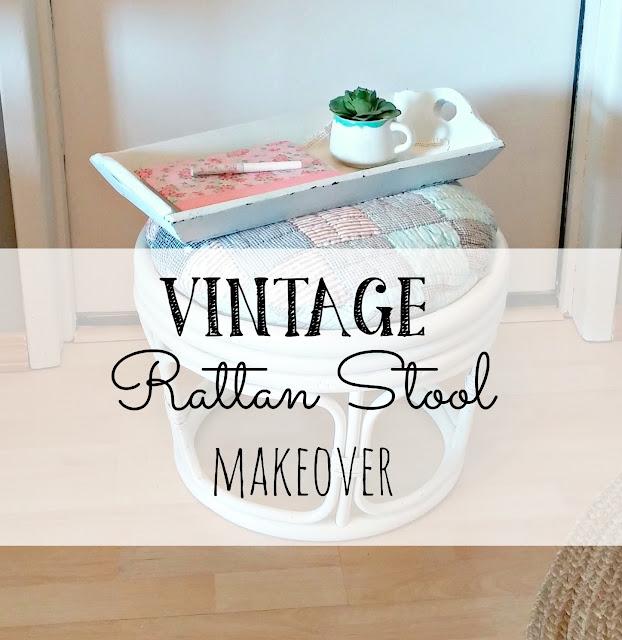 vintage rattan stool