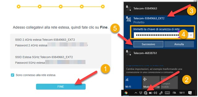 connessione alla rete con wi-fi extender