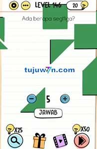 Level 146 jawaban ada berapa segitiga? brain test