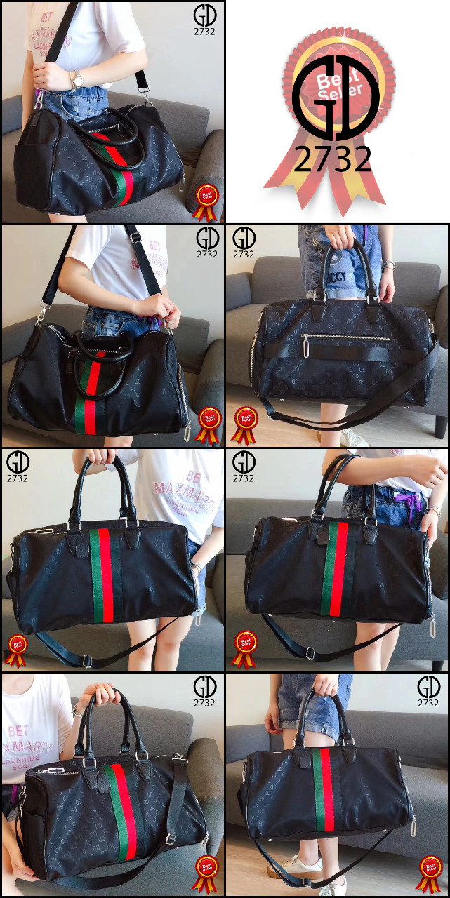 Kode GI 003 : GUCCI GD Lined Zippered Shoes Compartment Bags Waterfproof Parasut vs Leather Hardware Silver 2732