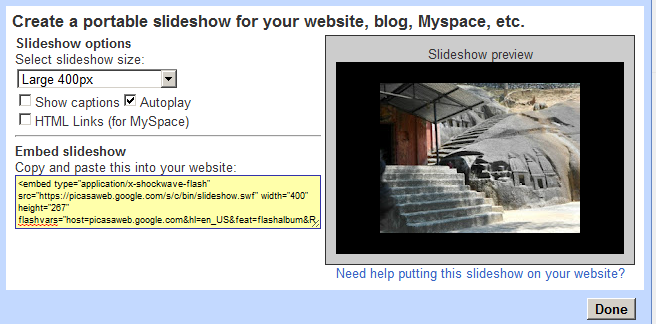 slideshow gadget configuration in picasa photo albums