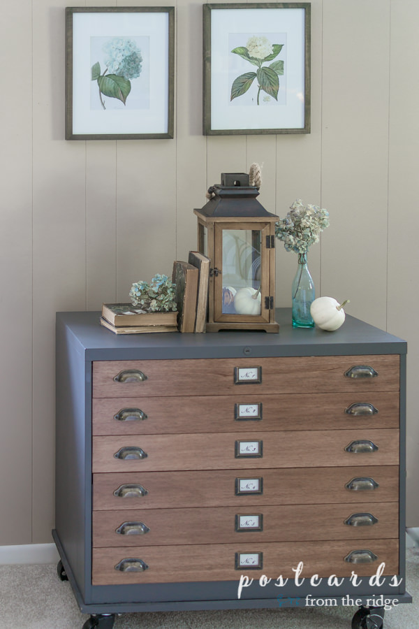 vintage hydrangea art with glass lantern, old books, and dried hydrangeas on wood and metal file cabinet