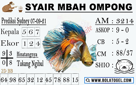 Syair Mbah Ompong SDY Selasa 07-Sep-2021