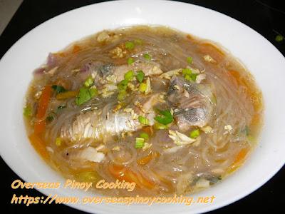 Pink Salmon Sotanghon Noodle Soup Dish