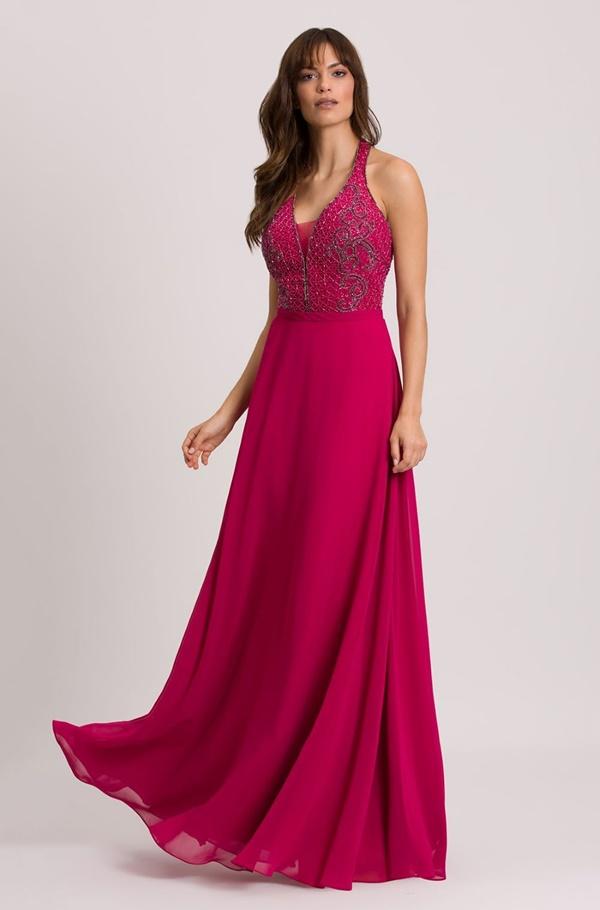 vestido longo rosa fucsia para madrinha de casamento