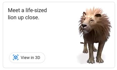 lion 3d view google camera