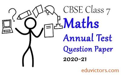 Class 7 Maths Annual Sample Question Paper  (Set-1) 2020-21 (#eduvictors)(#cbsenotes)(#class7Maths)