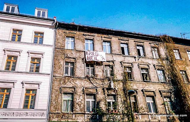 Protesto contra a guerra em um Squat de Berlim, em 2003