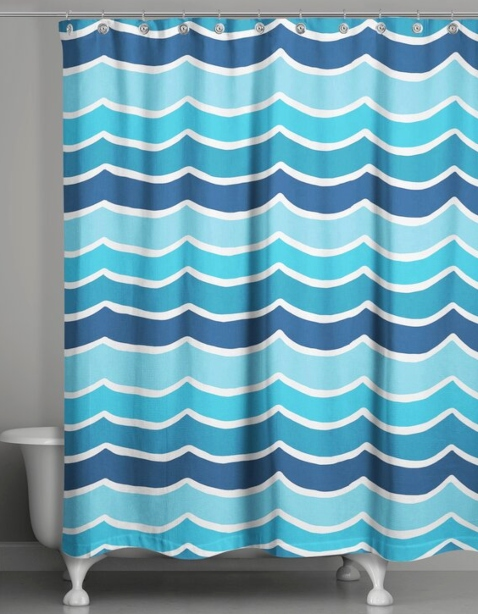 Blue Striped Wave Shower Curtain