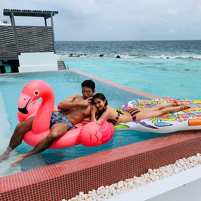 Sara Ali Khan become sensation in a stunning bikini on her Maldives Vaction